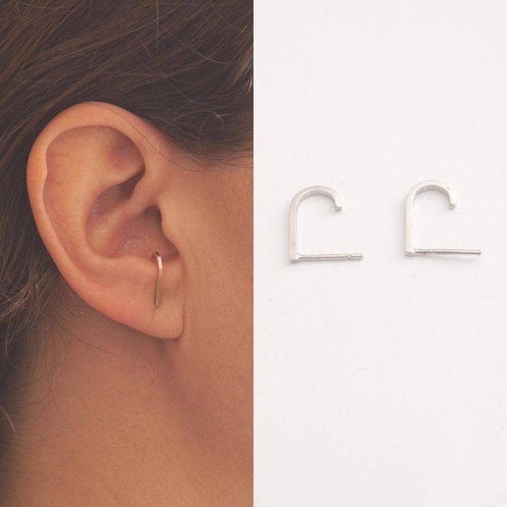 Square hook ear suspender earrings. #minimaljewelry #suspenderearrings #earringl