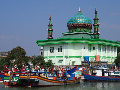 Fishing boats and mosque, Banda Aceh – Indonesia