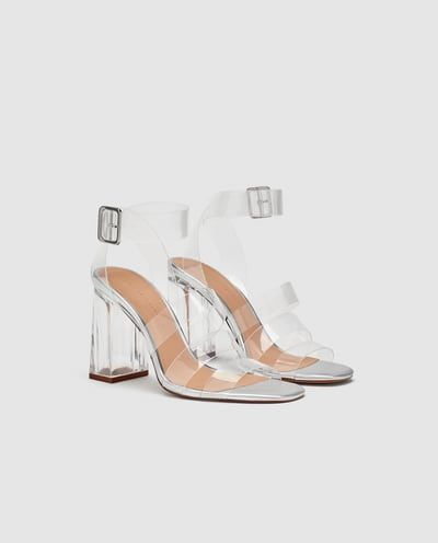 b8a70c13a7 Image 1 of VINYL HIGH HEEL SANDALS from Zara | Shoes & Bags ...