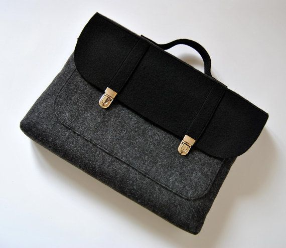 Felt laptop bag 15 MacBook urban bag Color anthracite and black felt Common Laptop Bag satchel Briefcase