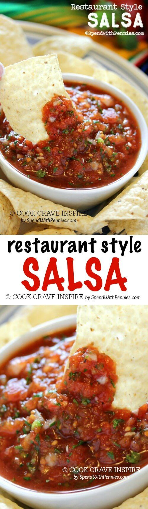 This delicious salsa is just like the salsa you get at your favorite Mexican restaurant! The best part is that it takes just a couple of minutes to make!