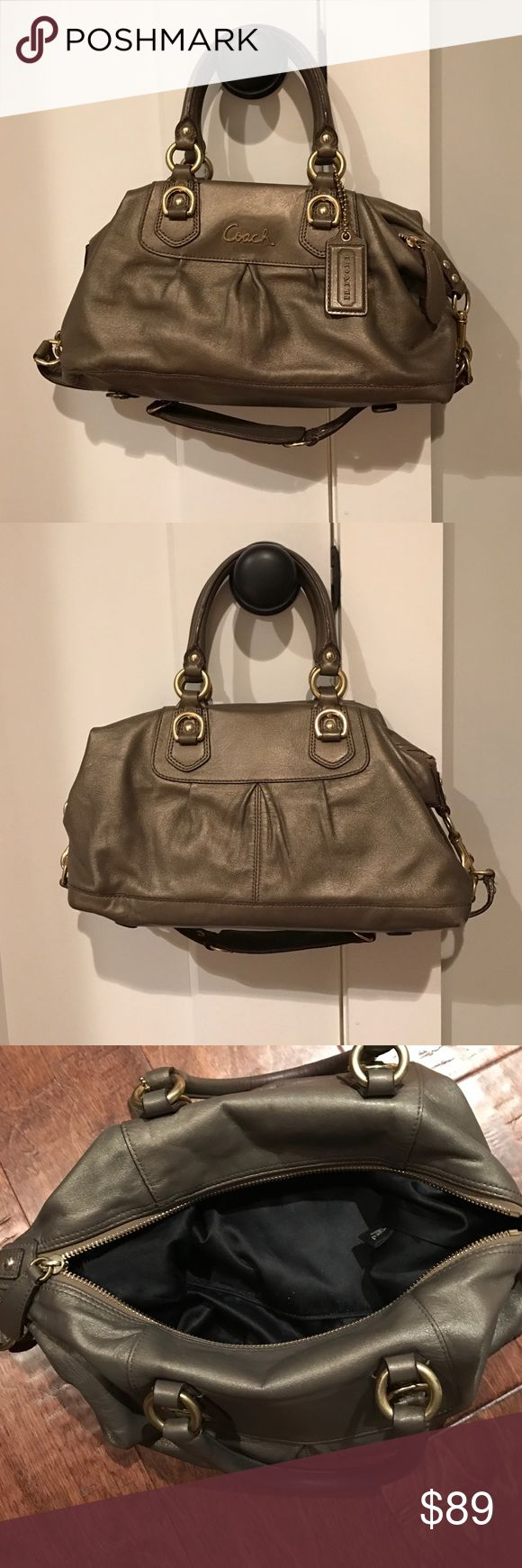 Coach. Satchel. Lovely shimmering grey with gold Leather. Very soft. Great condition. No stains or signs of wear at all. Strap can be used to carry bag multiple ways or just use handles. Gold buckles and accents.  Size is 6wx12Lx7H Coach Bags