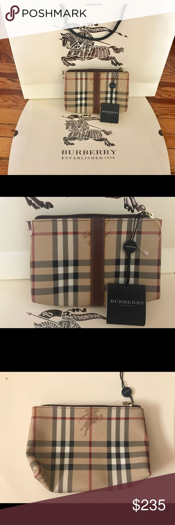 "Authentic Burberry nova check Pouch Perfect Pouch for make up, bills or receipts. 6.7"" by 4"". New with tags never used but the zipper pull hardware is a little scuffed (see close up). Comes with a beautiful Burberry gift box and bag. Burberry Bags Cosmetic Bags & Cases"