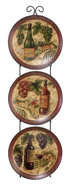 Metal wall decor wine plates