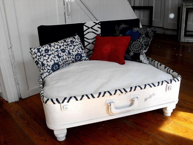 nautical style  upcycled dog bed vintage suitcase