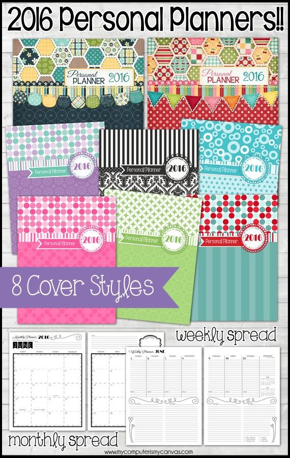 Calendar Planner Cover : Printable planner pages with lots of covers to choose
