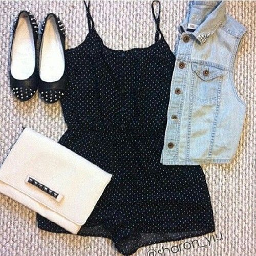 Double Pockets Cool Denim Vest | Teen Fashion, Rompers and ...