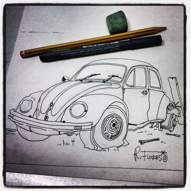 Instagram photo by @Roberto Flores Yoldi via ink361.com An #illustration of a #rusted #vw #aircooled #beetle. Well, just the early stage!