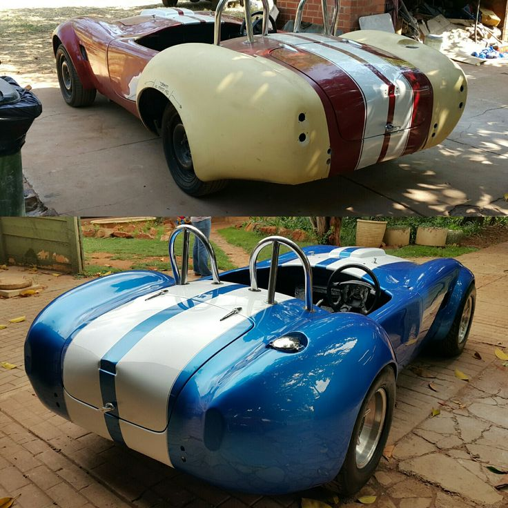The before and after of the #ACCobra  I think it looks a lot better?  #galaxycustoms #musclecar #spraypaint #fabrication #Fibreglass #madenotbought