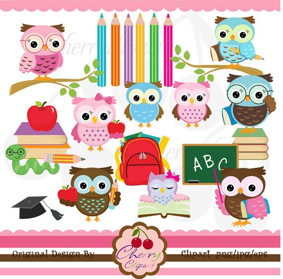 School owls digital clipart set  for Personal and by Cherryclipart, $5.00