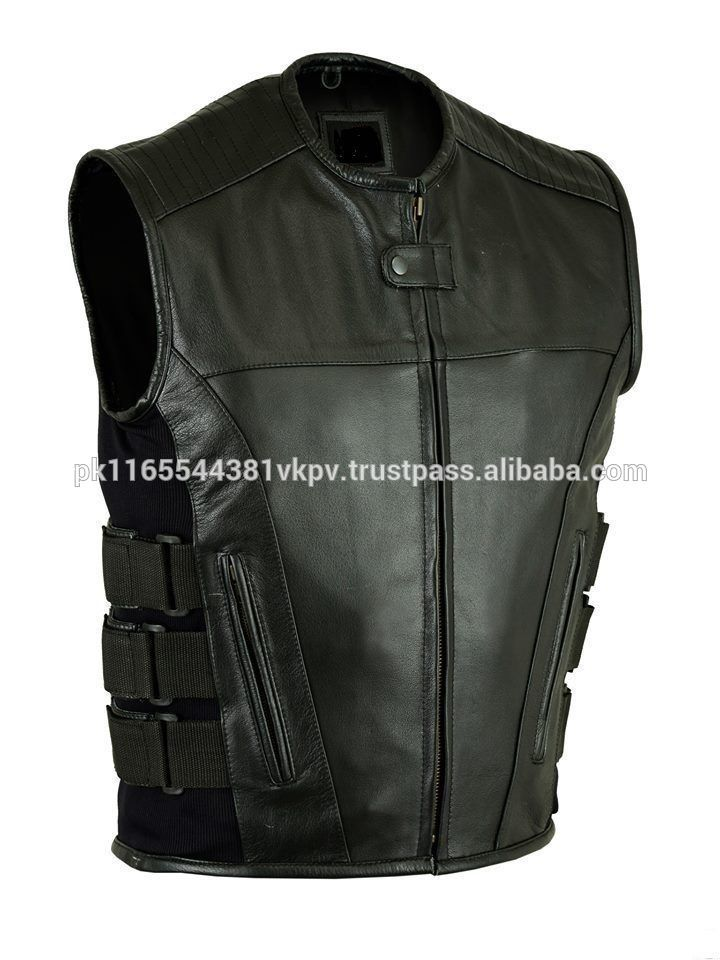 Men Bikers Updated Swat Team Style Motorcycle Leather Vest With Gun Pockets
