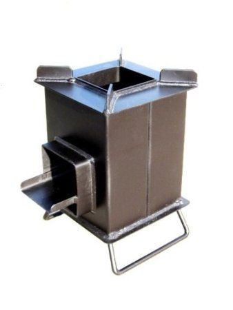 Burns extremely efficient, you can cook a meal with extremely small amount of wood. (Heavy Duty Grover Rocket Stove)