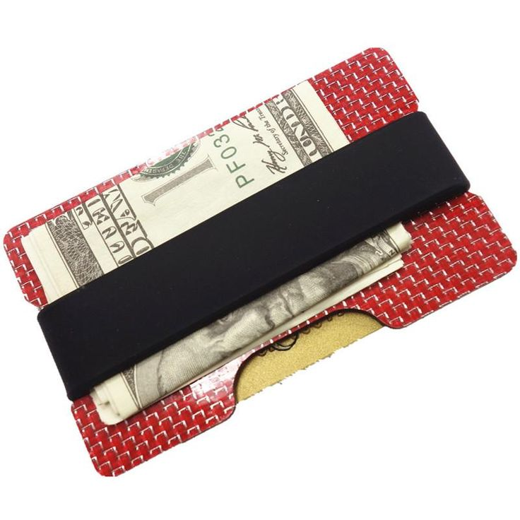 Carbon fiber credit card holder rubber band vertical