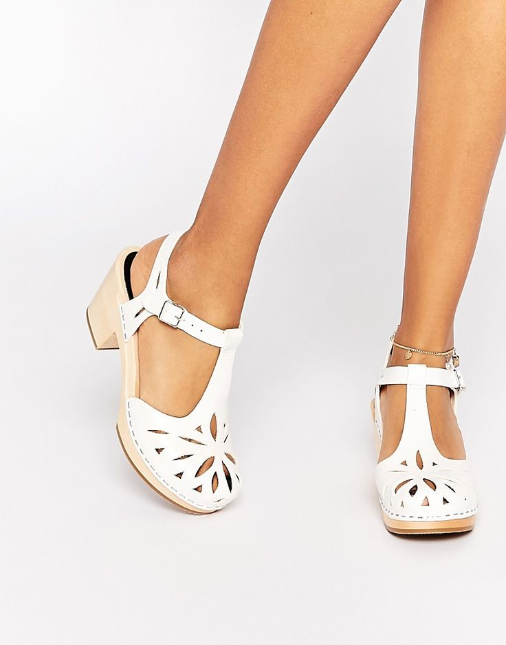 Image 1 of Swedish Hasbeens White Leather Lacy Sandals