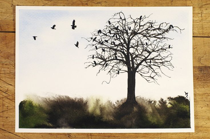Crows on a tree by InkingArt.deviantart.com on @DeviantArt