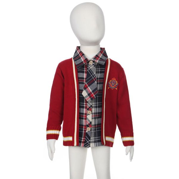 Baby Children Boys Wool Bow Thick Tie Plaid Sweater