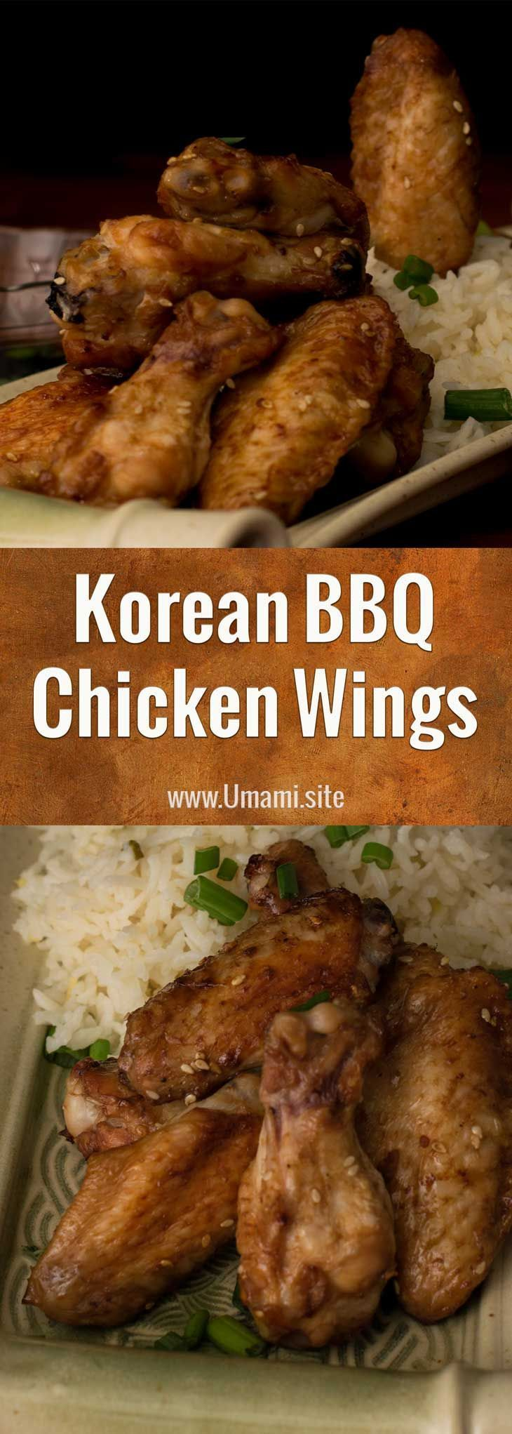 This #Korean #BBQ #chicken wing recipe is full of #ginger, #garlic, and the deep #umami flavors that make Korean BBQ so delicious. These chicken wings only take a few minutes to prep, making this recipe perfect as a main course, party food, or late night snack. #recipes #koreanfoodrecipes #chickenfoodrecipes