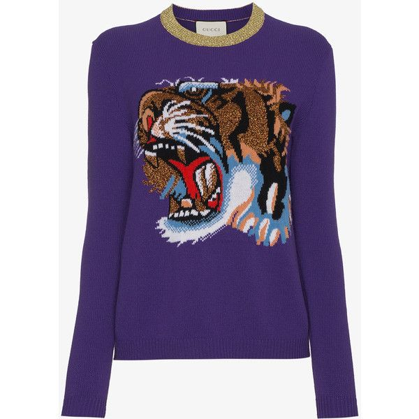 fa8a1b46c5 Gucci Wool Jumper With Knitted Tiger Motif ($1,090) ❤ liked on ...