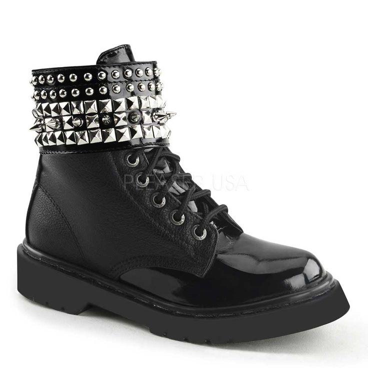 Demonia Rival-106 zwart mat Metal Gothic dames enkellaars met spikes,