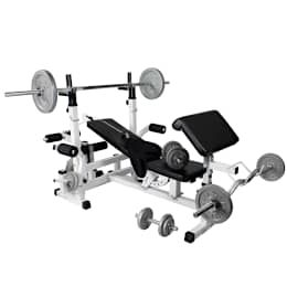 Gorilla Sports Universal Workstation with 108Kg Cast Iron Complete Weight Set: industrial Gym by Gorilla Sports