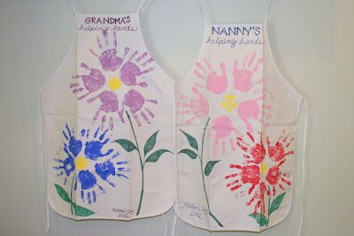 mother's day handprint aprons, made by the kids this year!