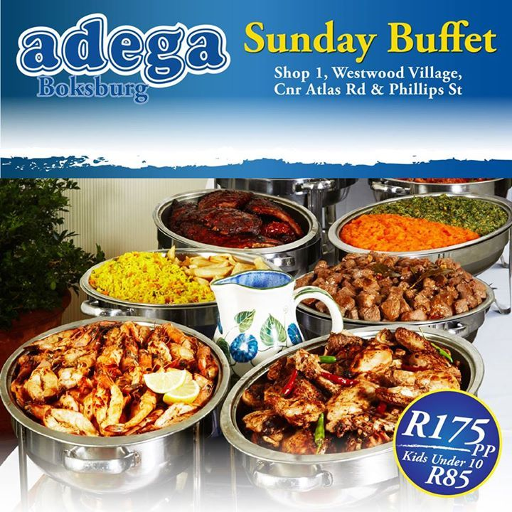 Sunday Buffet @ Adega Boksburg. *R175pp & R85 for Kids Under 10. Book a table now - 011 918 2219. Shop 1, Westwood Village, Corner Atlas Road & Phillips Street, Boksburg. TRADITIONAL PORTUGUESE CUISINE. ALWAYS GOOD. ALWAYS OPEN. #AdegaBoksburg #SundayBuffet