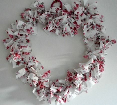Rose Heart Shaped Rag Wreath Give everlasting flowers this valentines