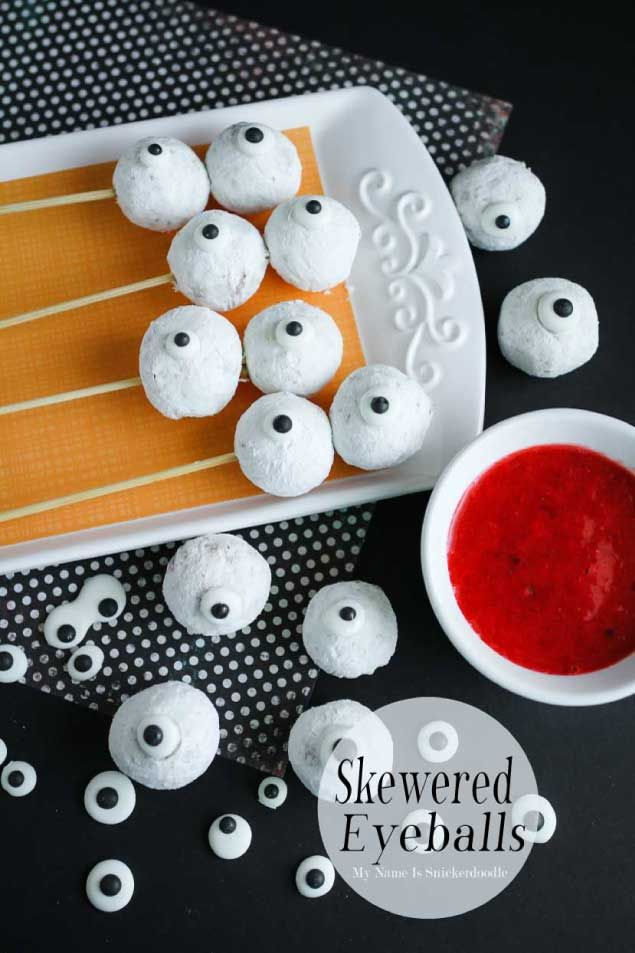 Easy Halloween Food Ideas! Skewered Eyeballs! From the gals at Eighteen25.com