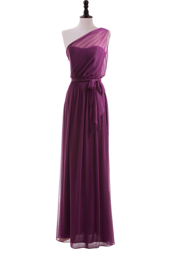 Elegant Sheer One Shoulder Chiffon Dress