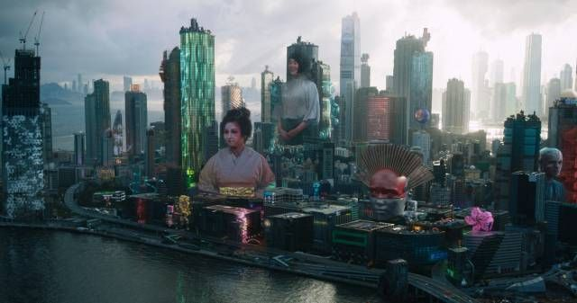ghost in the shell city holograms after
