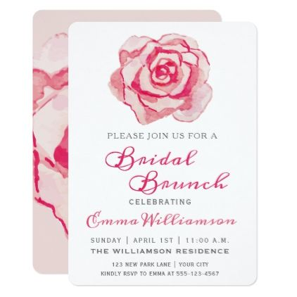 Pink Watercolor Rose | Bridal Brunch Invitation - script gifts template templates diy customize personalize special