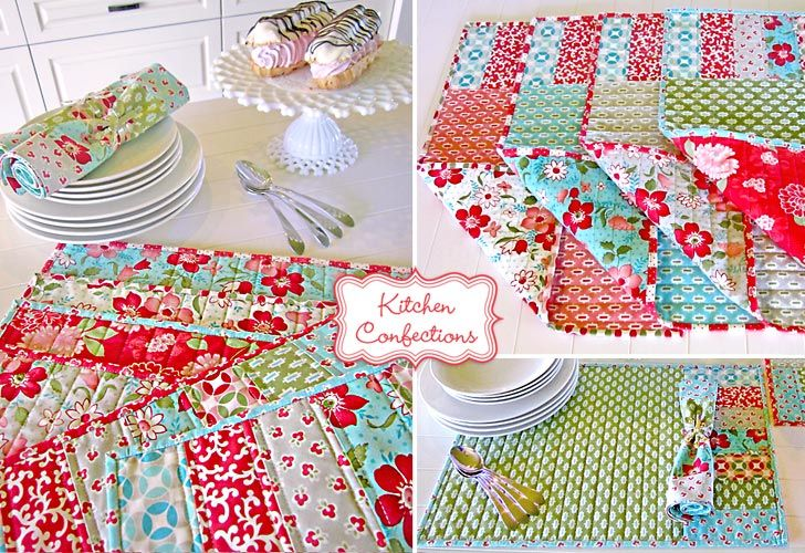 Very cute!Colors Placemats, Places Mats, Fashion Vintage, Quilt Placemats, Tables Runners, Vintage Modern, Patchwork Placemats, Kitchens Confections, Quilt Fabric