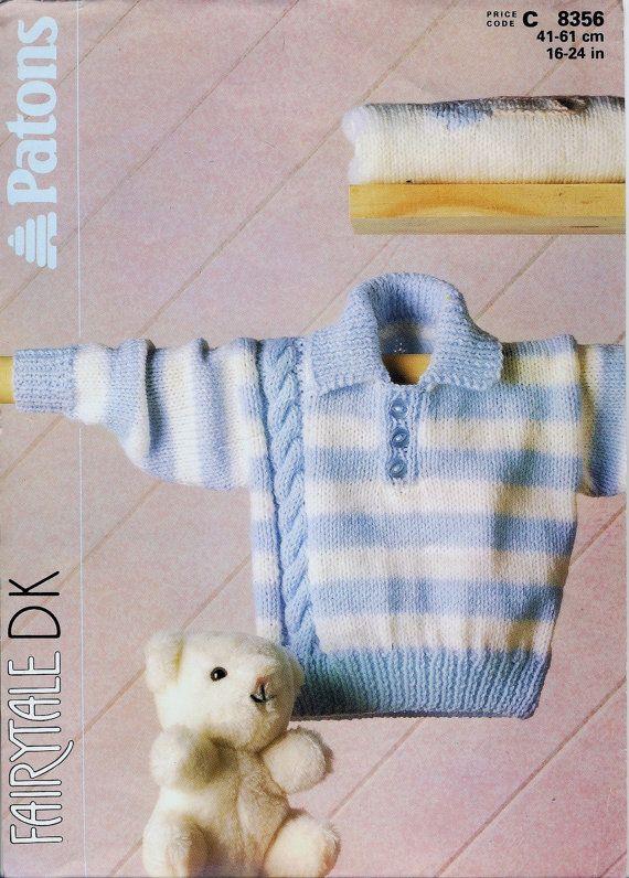 Los patons 8356 tejer patrón ~ patrón de suéter rayado del bebé con Cable en DK. 16-24 pulg copia / PDF.
