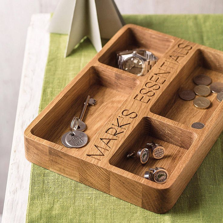 Personalised Oak Organiser Tray. A bit pricey but might be re-creatable from a block of wood yourself.