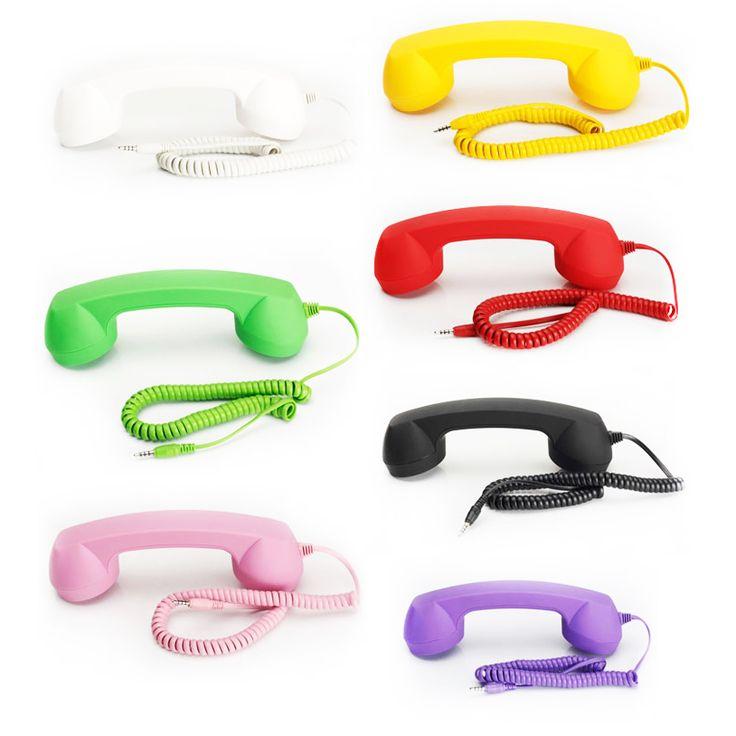 3.5 레트로 전화 헤드셋 레트로 전화 수신기 안티 방사선 플라스틱 휴대 전화 휴대폰 이어폰 아이폰 7 삼성 소니