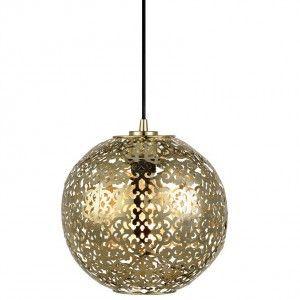 Lampa wisząca Indigo ażurowa metalowa kula mosiądz w stylu indyjskim