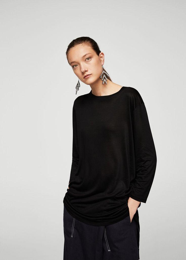T-shirt jaspeada (preto):| MANGO (15,99€)