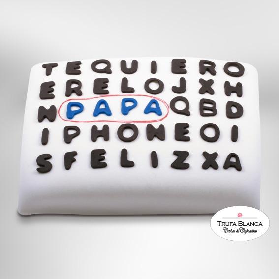 Pastel Día del Padre de fondant Sopa de letras. Unico y original :)