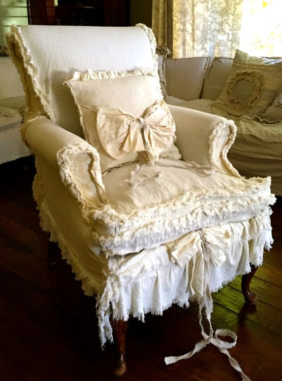 Shabby chic slip covered chair by dovesanddahlias on Etsy