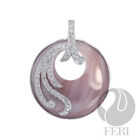 .925 sterling silver pendant with natural pink mother of pearl  from GWT Galleries, FERI Designer Lines.