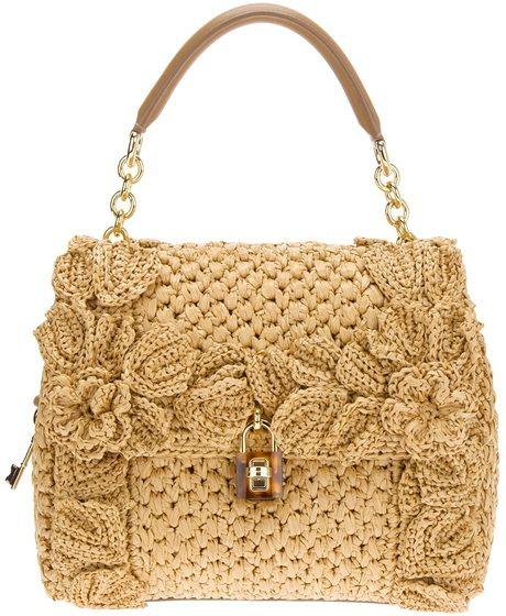 Dolce & Gabbana Sicily Raffia Handbag in Beige (camel)