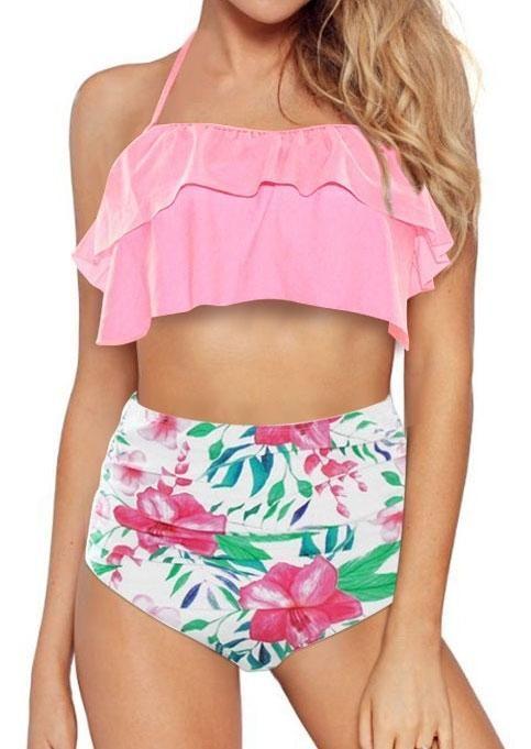 23f3fb4b79fe #falloutfits #AdoreWe #FairySeason - #Floral Floral Flouncing High Waist  Halter Bikini Set - AdoreWe.com