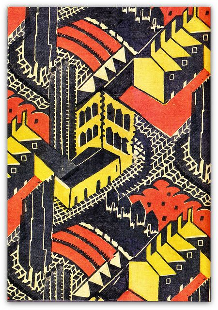 * 1930 block-printed linen furnishing fabric, 'Welwyn Garden City', designed by Doris Gregg for Footprints Ltd.
