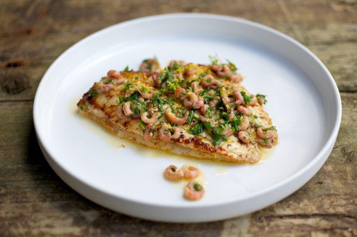 Pan-fried Plaice with Brown Shrimp and Lemon Butter Sauce