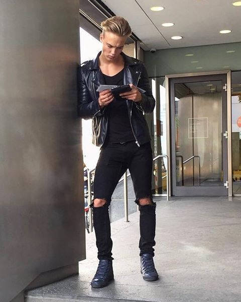 Handsome Young Guy In Ripped Jeans Ripped Jeans Mens Fashion