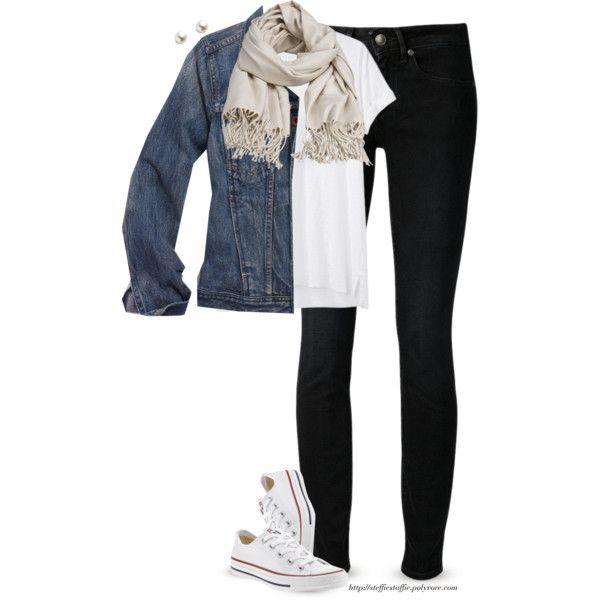 """Denim jacket, neutral scarf & pearls"" by steffiestaffie on Polyvore"