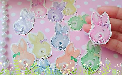 48xRabbit Head Stickers,Vintage Bunnies,Easter Rabbit Stickers,Kawaii sticker