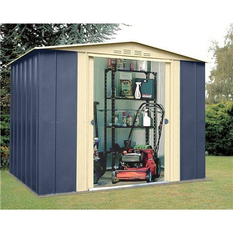 Oslo 8FT x 6FT PREMIER BLUE METAL SHED (2.45m x 1.85m) https://www.uk-rattanfurniture.com/product-category/garden-tools/