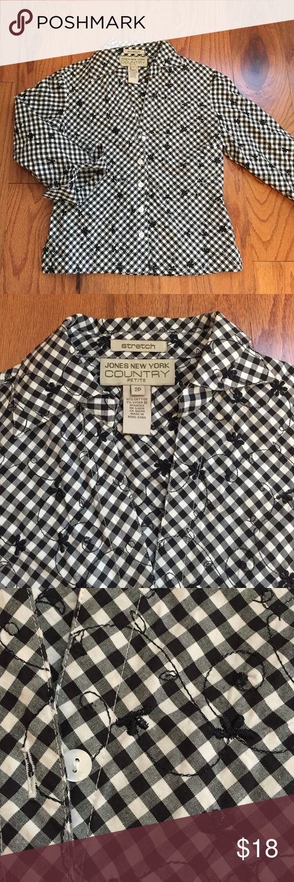 """JONES NY COUNTRY stretch black plaid & flower top Jones NY Country: Very cute short stretch, 3/4 cuffed sleeve, collard with 5 white buttons top. 97% cotton, 3% Lycra / spandex in machine washable fabric . Black & white plaid with small black flower embroidery, low v-neckline. Overall length 20"""". PREFECT CONDITION JONES NEW YORK COUNTRY Tops Button Down Shirts"""