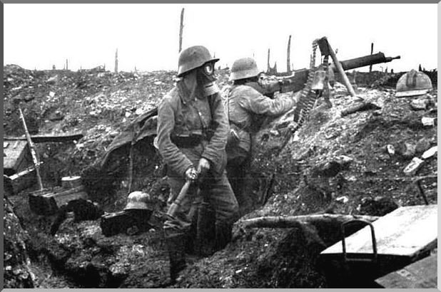 Soldiers (Germans) in WW1 trenches
